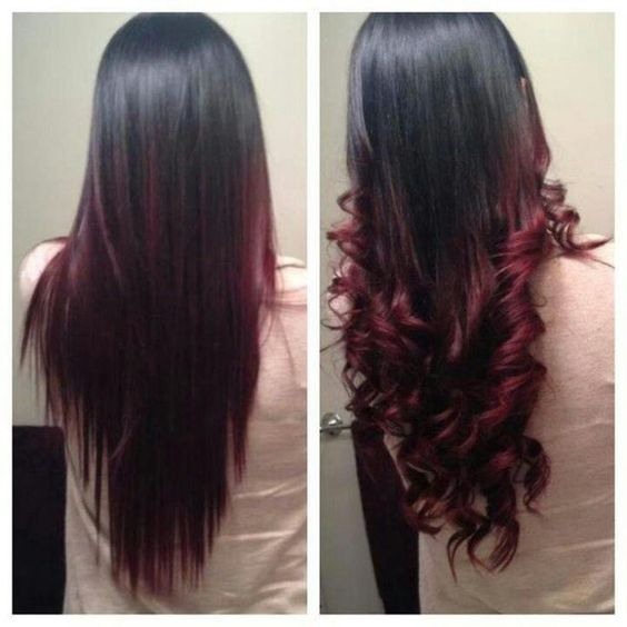 Ombré hair cerise : la couleur tendance pour les brunes ... Brown Hair With Red Tips Tumblr