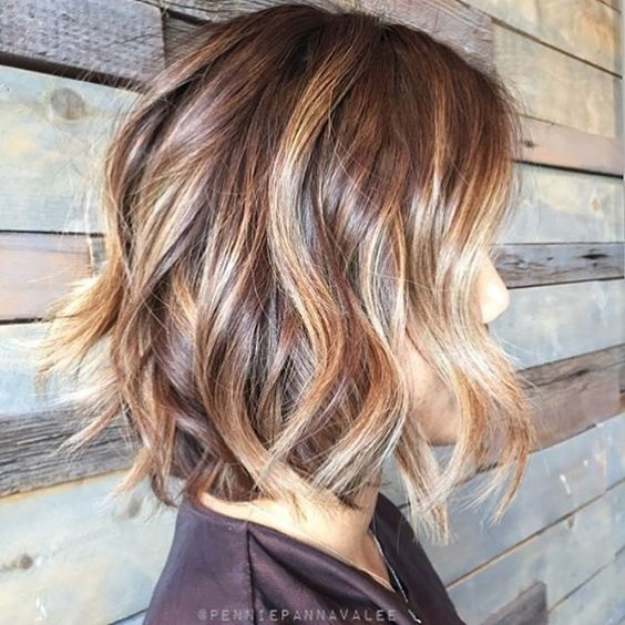 Ombre Hair Brown To Caramel To Blonde Medium Length Coupes carrées : ...