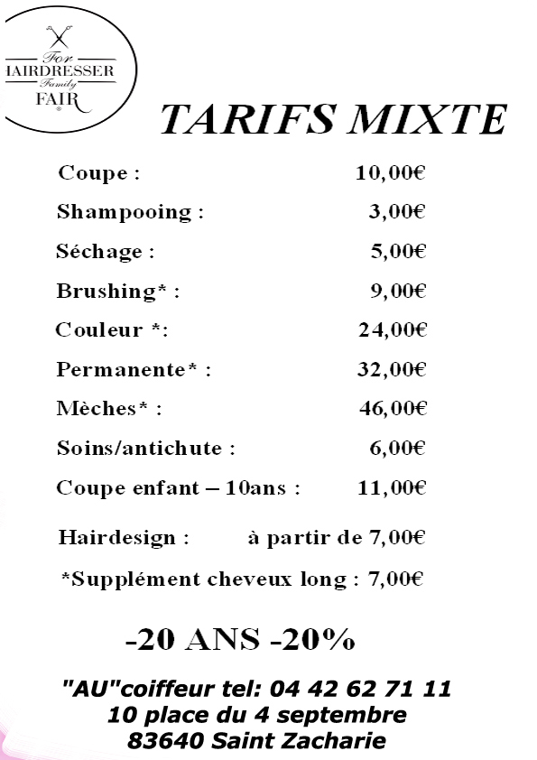 Au coiffeur saint zacharie avis tarifs horaires t l phone - Tarif de coiffure en salon ...