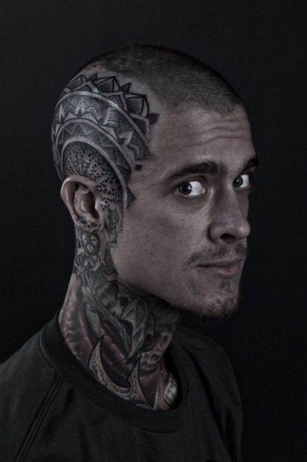 20 bald head tattoos that 39 ll make you shave your head asap for Head tattoo hairline