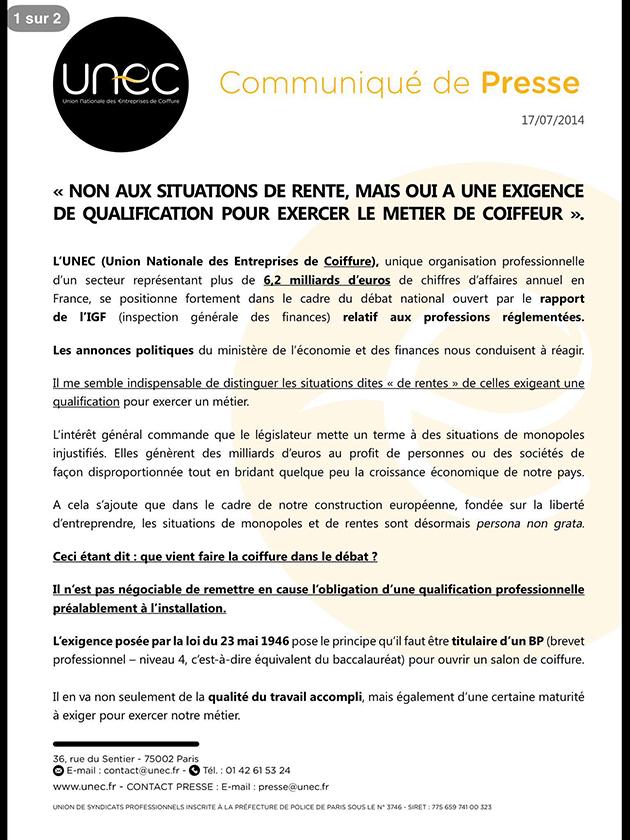 Communiqué presse UNEC professions réglementées