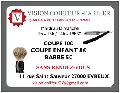 Vision coiffeur barbier evreux avis tarifs horaires for Salon de coiffure st sauveur