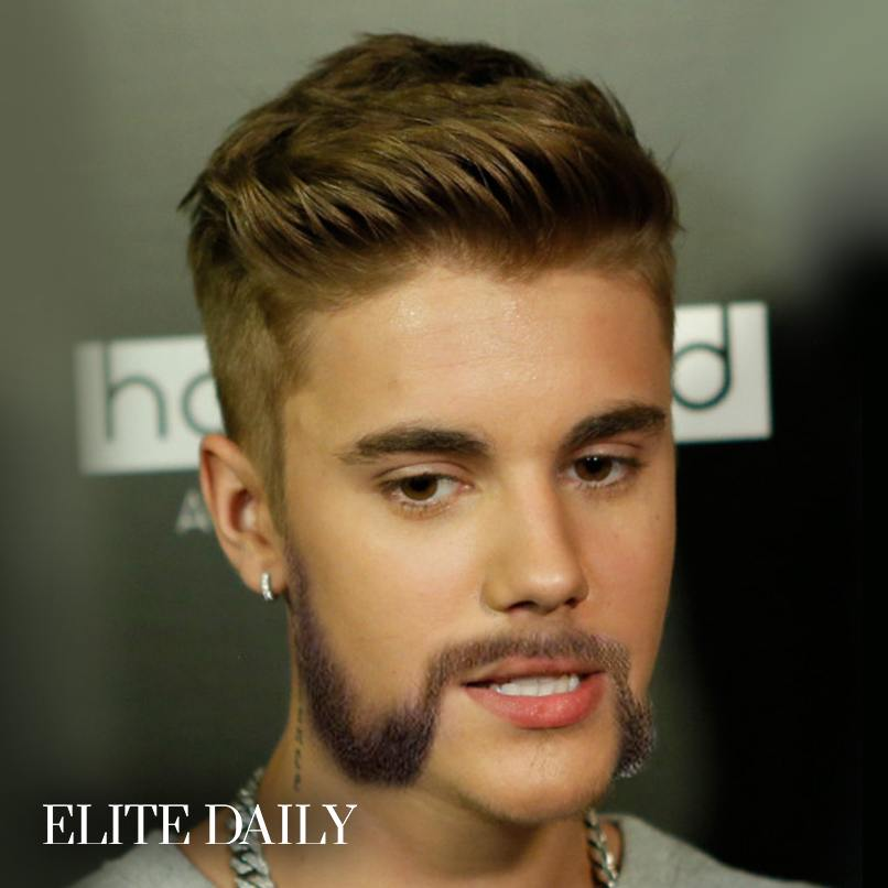 justin bieber porte la moustache merveille coiffeur. Black Bedroom Furniture Sets. Home Design Ideas