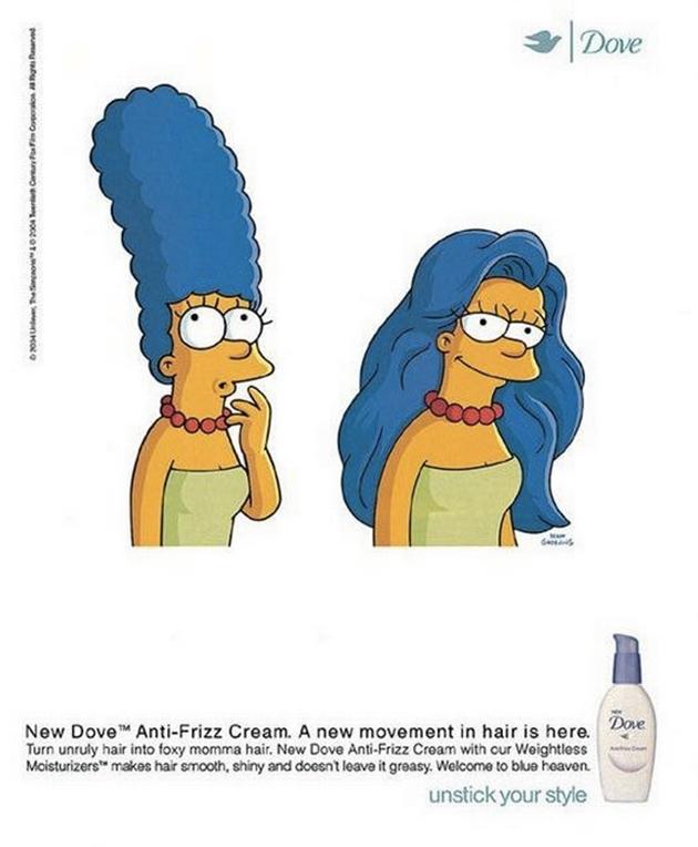 Marge Simpsons cheveux lissés - Publicité shampooing anti-frisottis Dove