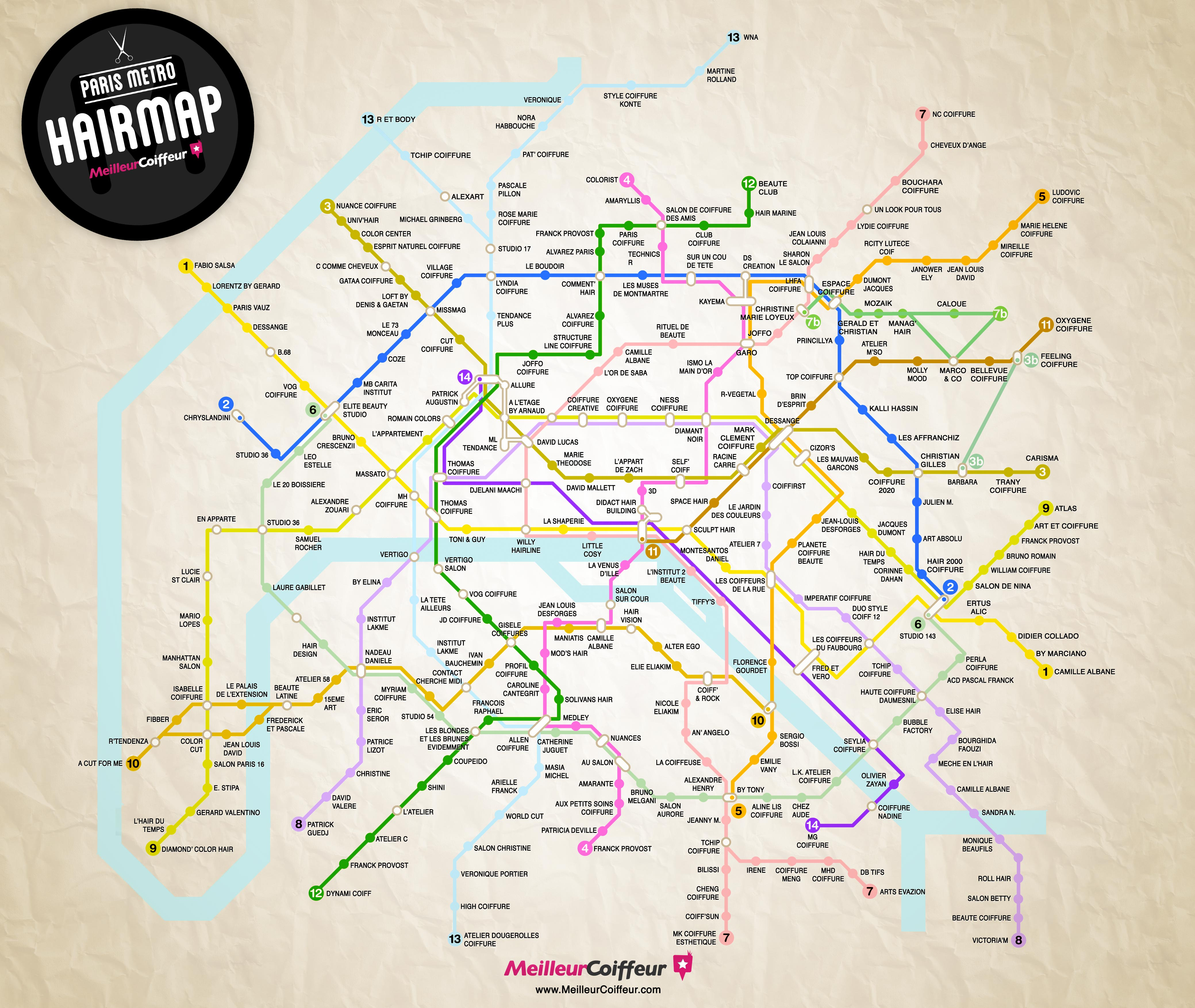 Carte de métro des meilleurs salons de coiffure de Paris
