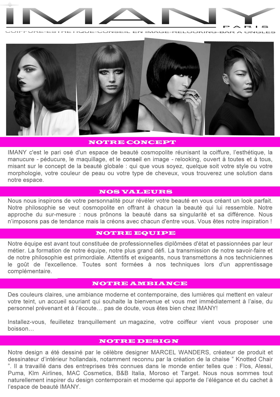 Imany paris paris 03 avis tarifs horaires t l phone - Salon de coiffure ouvert le dimanche paris ...