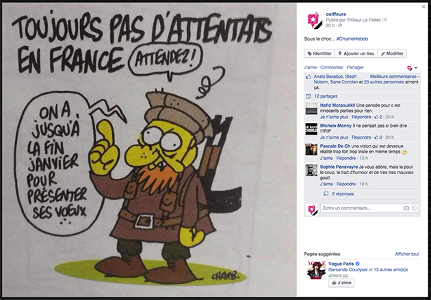 Hommage Charlie Hebdo coiffure