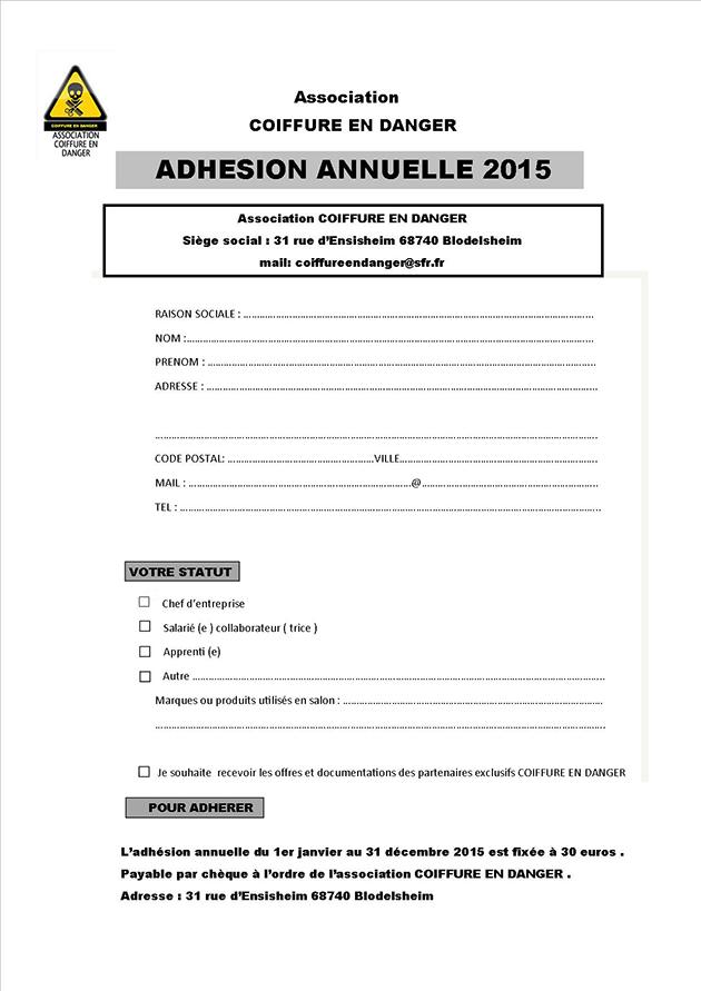 Bulletin adhésion Coiffure en Danger