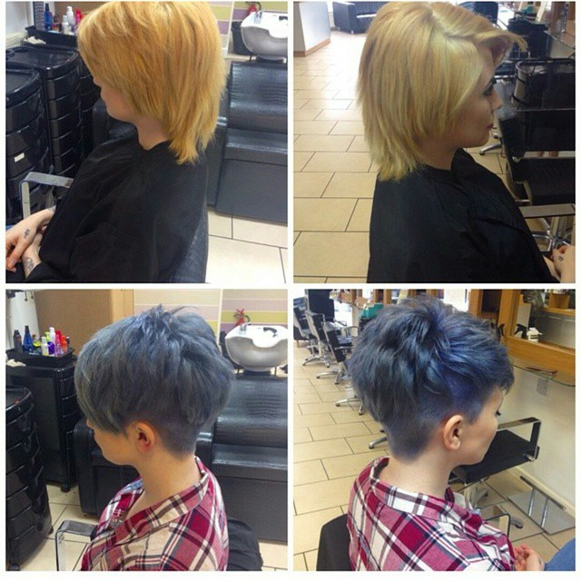 Cheveux courts coloration flashy