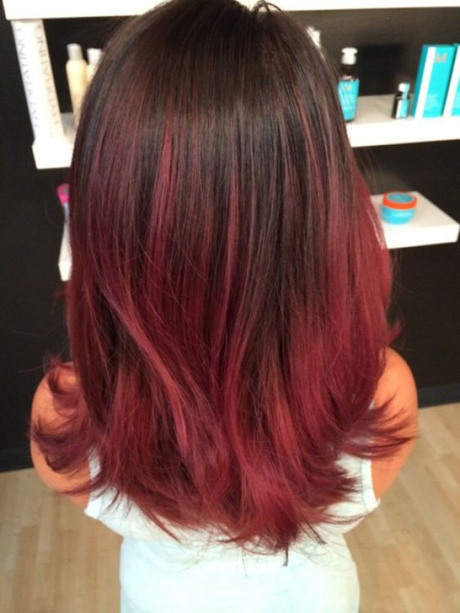 Ombré hair rouge sur base brune  19 raisons d\u0027y succomber.