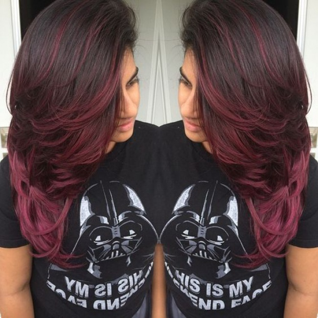Plum red brown hair color pictures